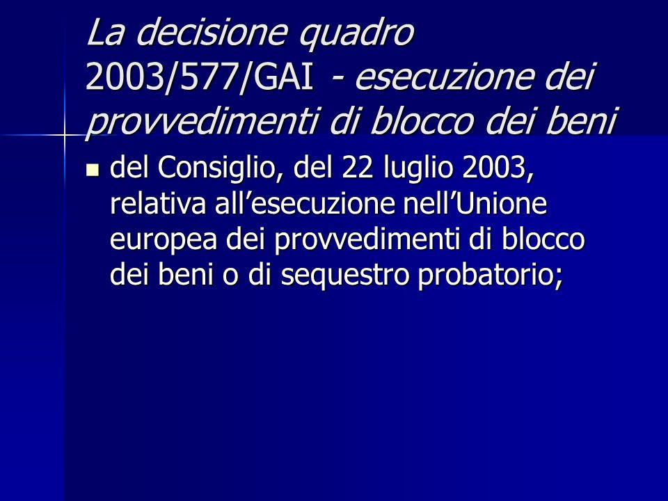La decisione quadro 2003/577/GAI - esecuzione dei provvedimenti di blocco dei beni