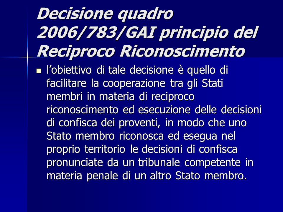 Decisione quadro 2006/783/GAI principio del Reciproco Riconoscimento