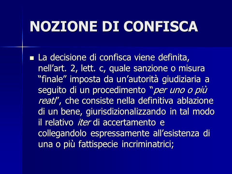 NOZIONE DI CONFISCA