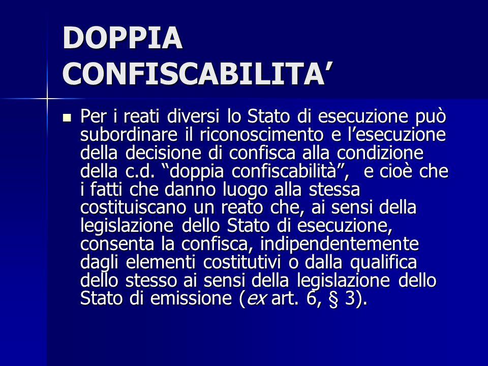 DOPPIA CONFISCABILITA'