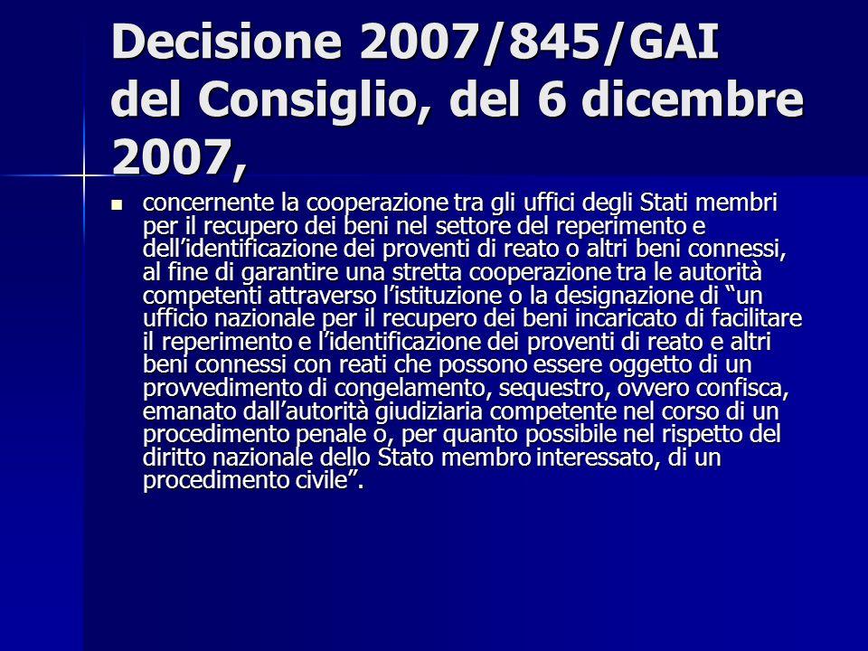 Decisione 2007/845/GAI del Consiglio, del 6 dicembre 2007,