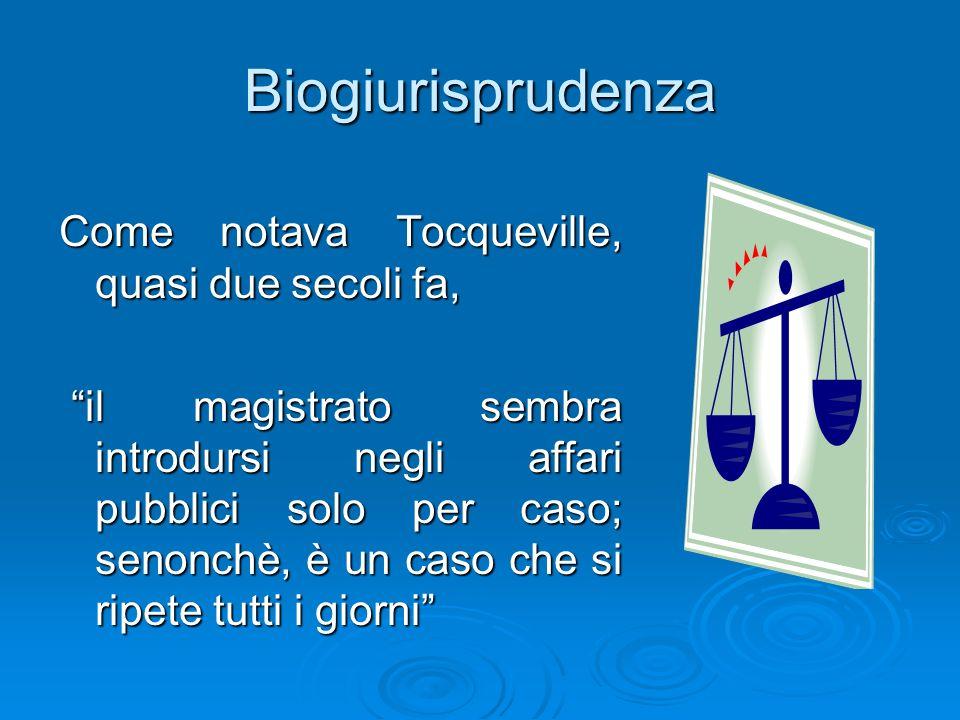 Biogiurisprudenza Come notava Tocqueville, quasi due secoli fa,