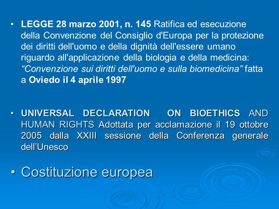 LEGGE 28 marzo 2001, n. 145 Ratifica ed esecuzione della Convenzione del Consiglio d Europa per la protezione dei diritti dell uomo e della dignità dell essere umano riguardo all applicazione della biologia e della medicina: Convenzione sui diritti dell uomo e sulla biomedicina fatta a Oviedo il 4 aprile 1997