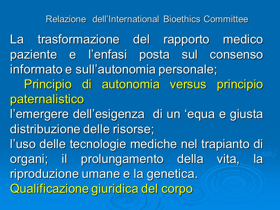 Relazione dell'International Bioethics Committee