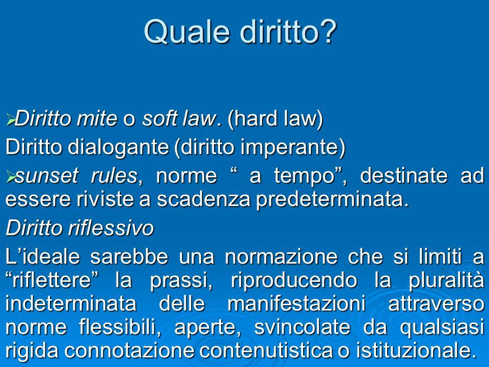 Quale diritto Diritto mite o soft law. (hard law)