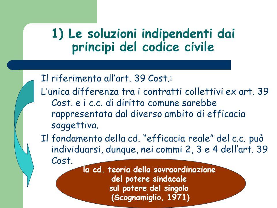 1) Le soluzioni indipendenti dai principi del codice civile