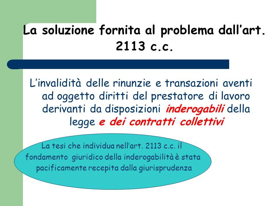La soluzione fornita al problema dall'art. 2113 c.c.