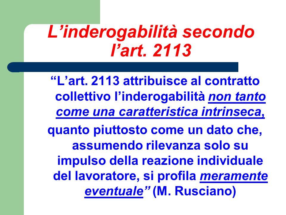L'inderogabilità secondo l'art. 2113