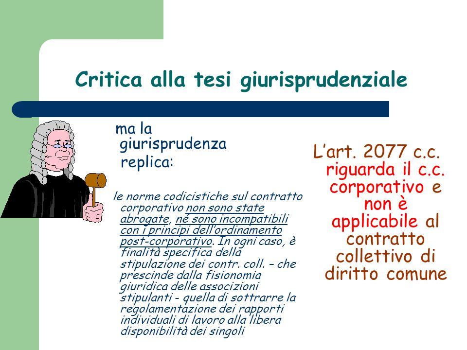 Critica alla tesi giurisprudenziale