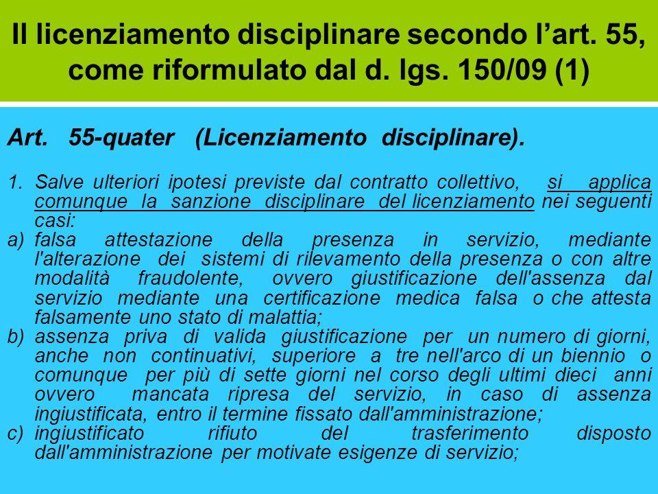 Il licenziamento disciplinare secondo l'art. 55, come riformulato dal d. lgs. 150/09 (1)