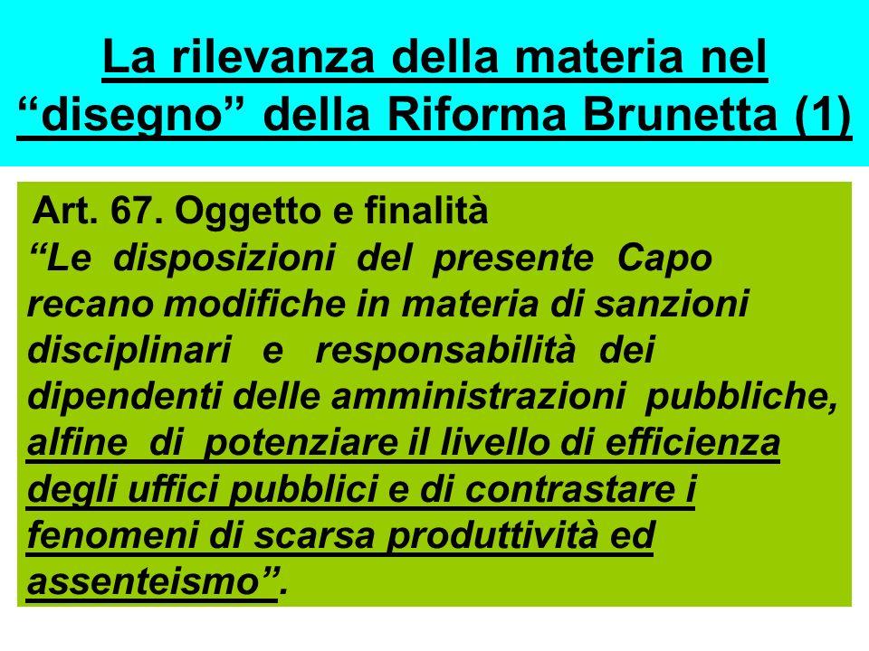 La rilevanza della materia nel disegno della Riforma Brunetta (1)