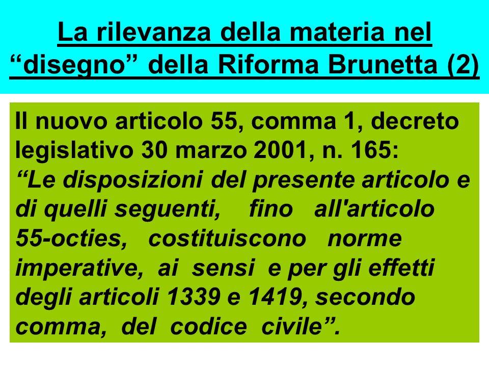 La rilevanza della materia nel disegno della Riforma Brunetta (2)