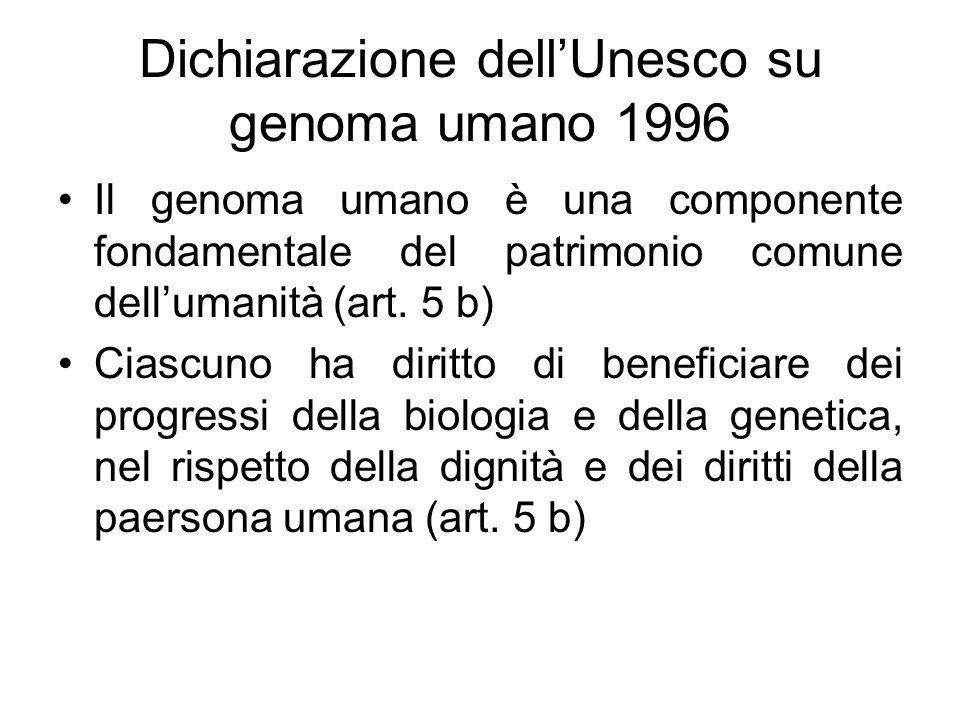 Dichiarazione dell'Unesco su genoma umano 1996
