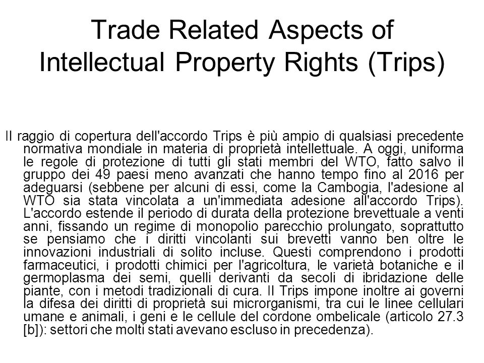 Trade Related Aspects of Intellectual Property Rights (Trips)