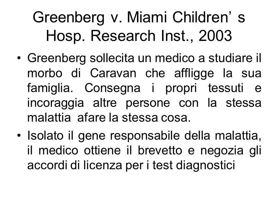 Greenberg v. Miami Children' s Hosp. Research Inst., 2003