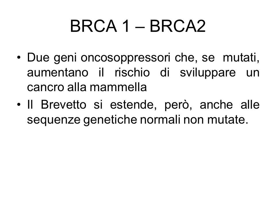 BRCA 1 – BRCA2 Due geni oncosoppressori che, se mutati, aumentano il rischio di sviluppare un cancro alla mammella.