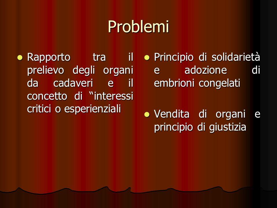 Problemi Rapporto tra il prelievo degli organi da cadaveri e il concetto di interessi critici o esperienziali.