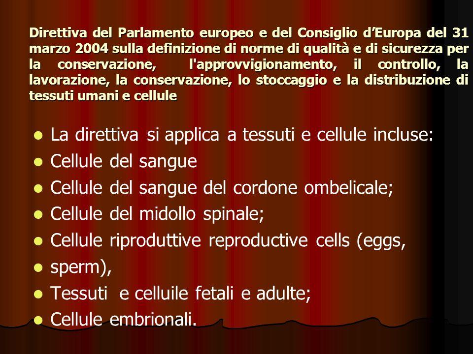 La direttiva si applica a tessuti e cellule incluse: