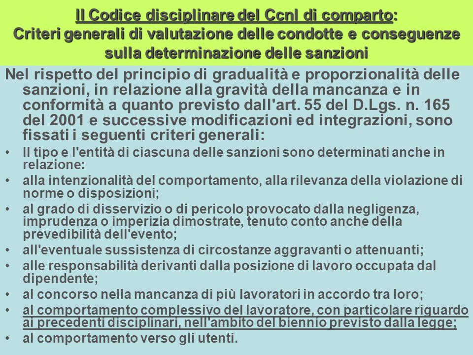 lI Codice disciplinare del Ccnl di comparto: Criteri generali di valutazione delle condotte e conseguenze sulla determinazione delle sanzioni
