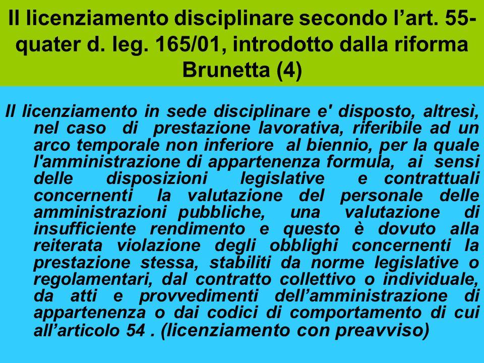 Il licenziamento disciplinare secondo l'art. 55-quater d. leg
