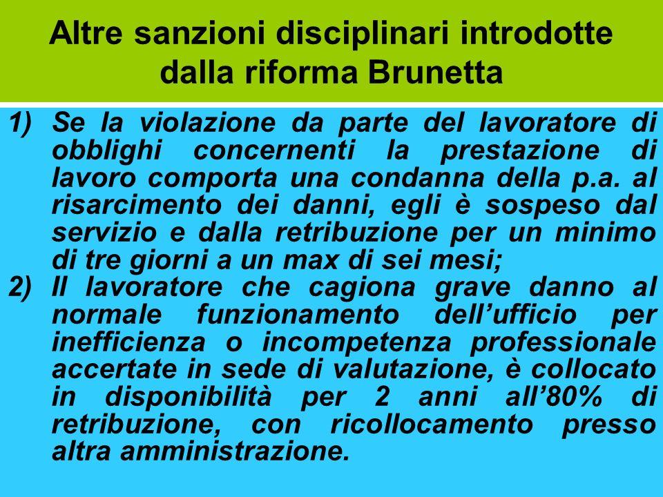 Altre sanzioni disciplinari introdotte dalla riforma Brunetta