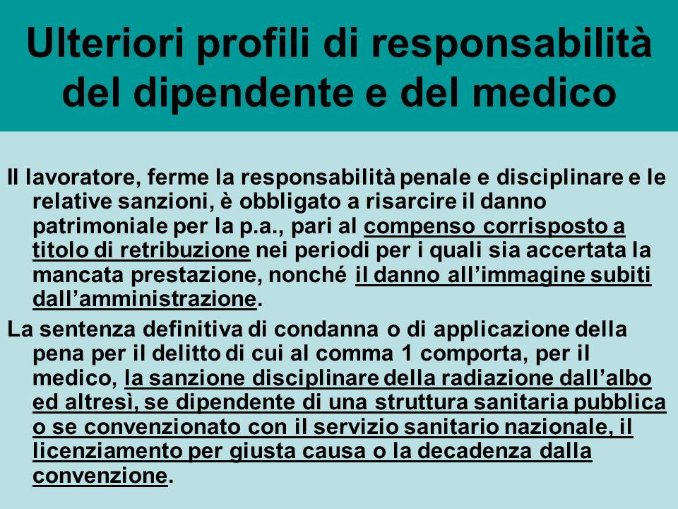 Ulteriori profili di responsabilità del dipendente e del medico