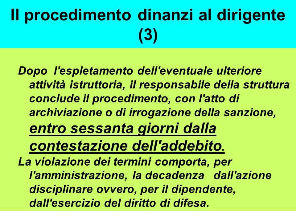 Il procedimento dinanzi al dirigente (3)