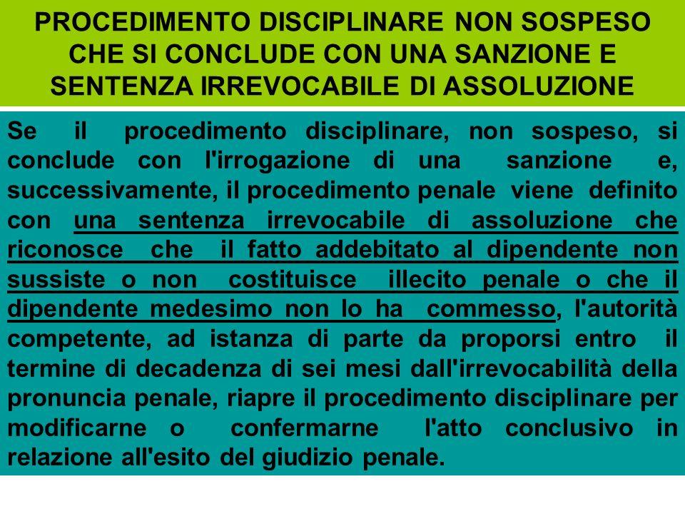 PROCEDIMENTO DISCIPLINARE NON SOSPESO CHE SI CONCLUDE CON UNA SANZIONE E SENTENZA IRREVOCABILE DI ASSOLUZIONE
