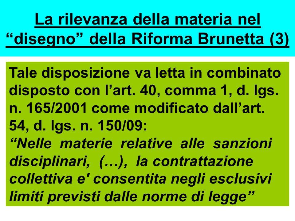 La rilevanza della materia nel disegno della Riforma Brunetta (3)