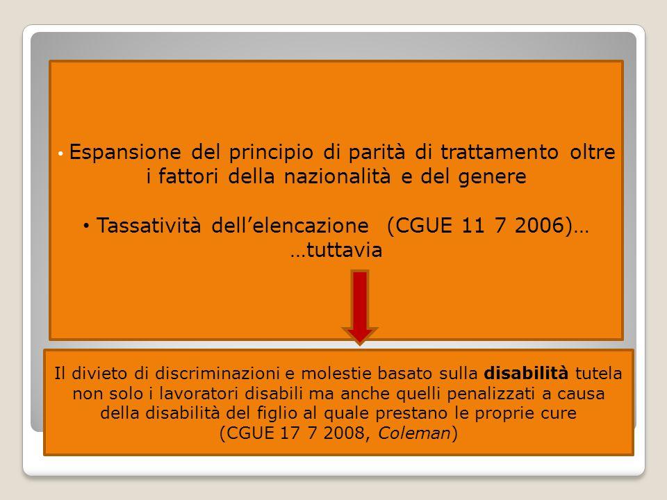 Tassatività dell'elencazione (CGUE 11 7 2006)…
