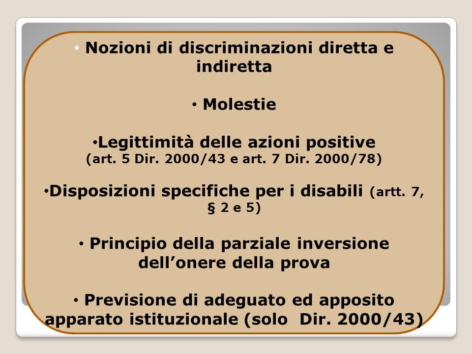 Nozioni di discriminazioni diretta e indiretta
