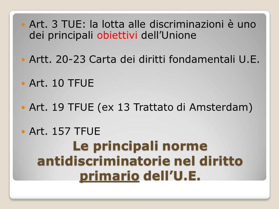 Le principali norme antidiscriminatorie nel diritto primario dell'U.E.