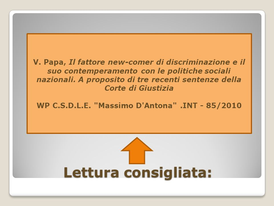 WP C.S.D.L.E. Massimo D Antona .INT - 85/2010
