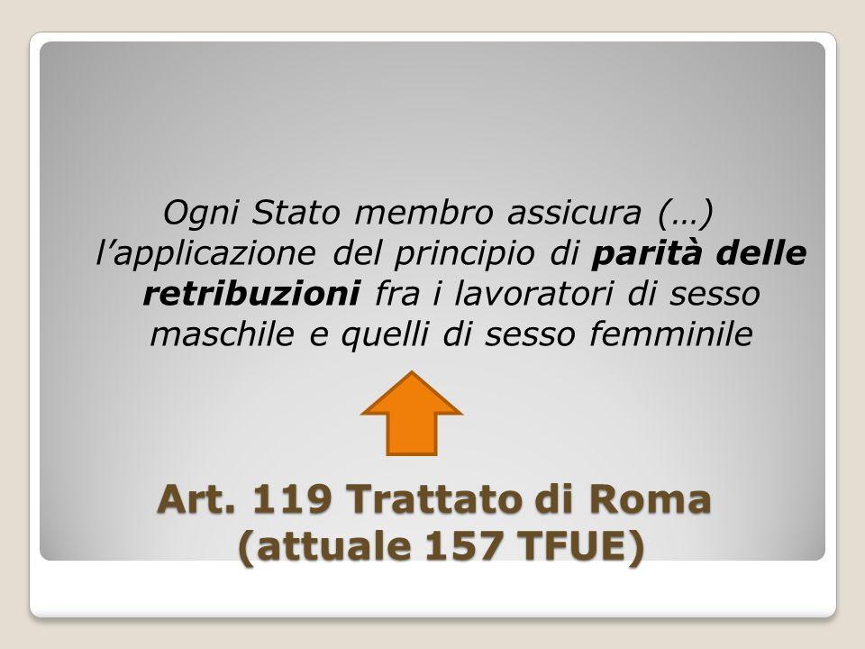 Art. 119 Trattato di Roma (attuale 157 TFUE)