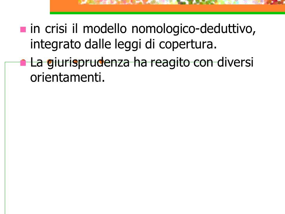 in crisi il modello nomologico-deduttivo, integrato dalle leggi di copertura.