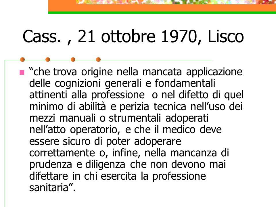 Cass. , 21 ottobre 1970, Lisco