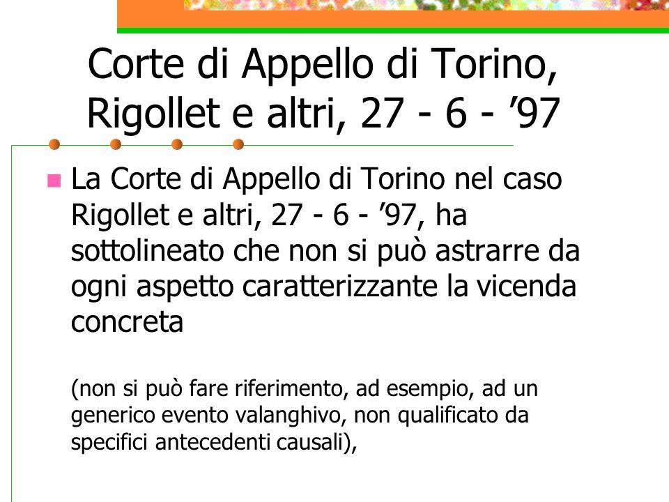 Corte di Appello di Torino, Rigollet e altri, 27 - 6 - '97