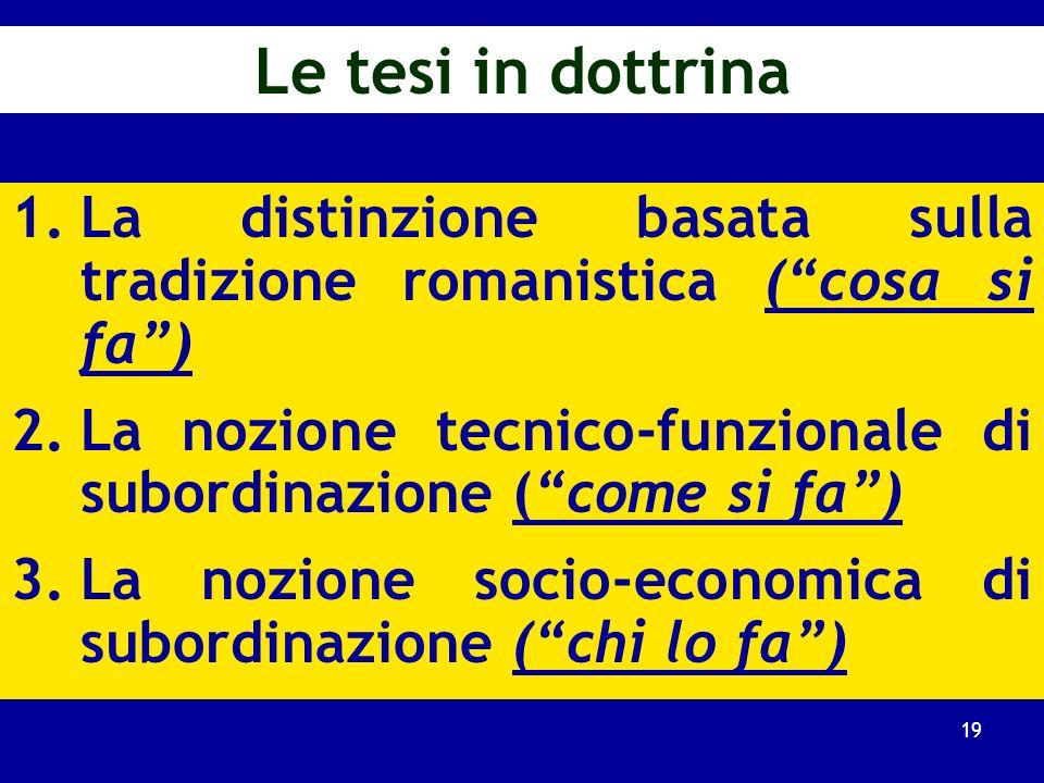 Le tesi in dottrina La distinzione basata sulla tradizione romanistica ( cosa si fa ) La nozione tecnico-funzionale di subordinazione ( come si fa )