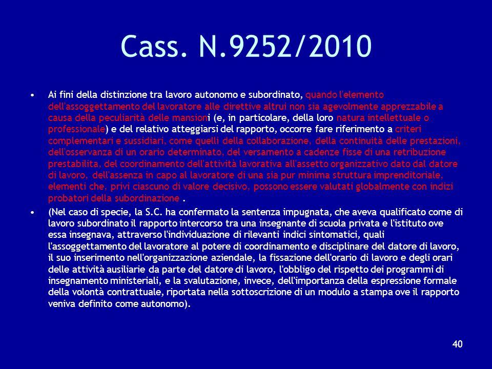 Cass. N.9252/2010