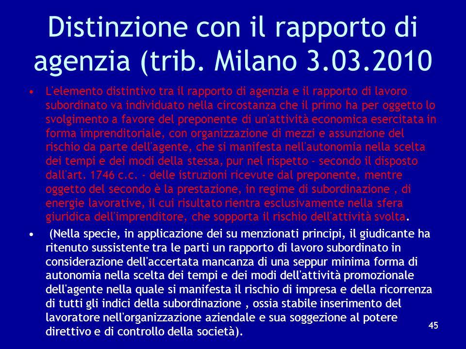 Distinzione con il rapporto di agenzia (trib. Milano 3.03.2010