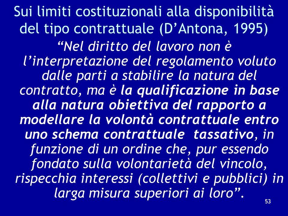 Sui limiti costituzionali alla disponibilità del tipo contrattuale (D'Antona, 1995)