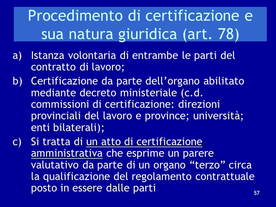 Procedimento di certificazione e sua natura giuridica (art. 78)