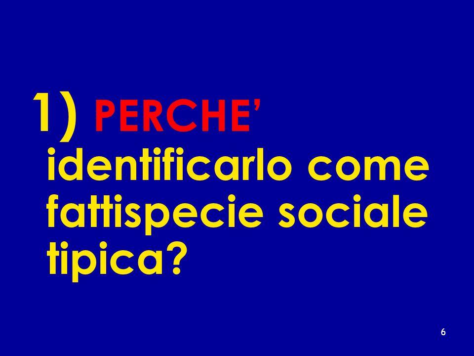 1) PERCHE' identificarlo come fattispecie sociale tipica