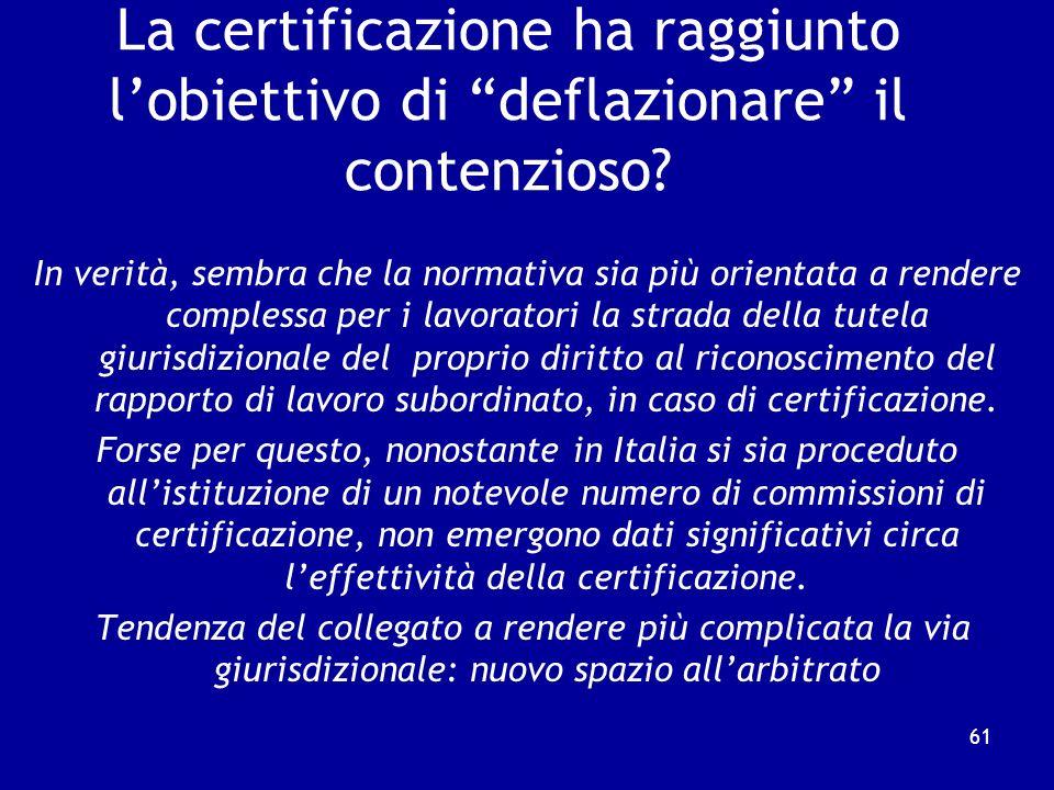 La certificazione ha raggiunto l'obiettivo di deflazionare il contenzioso