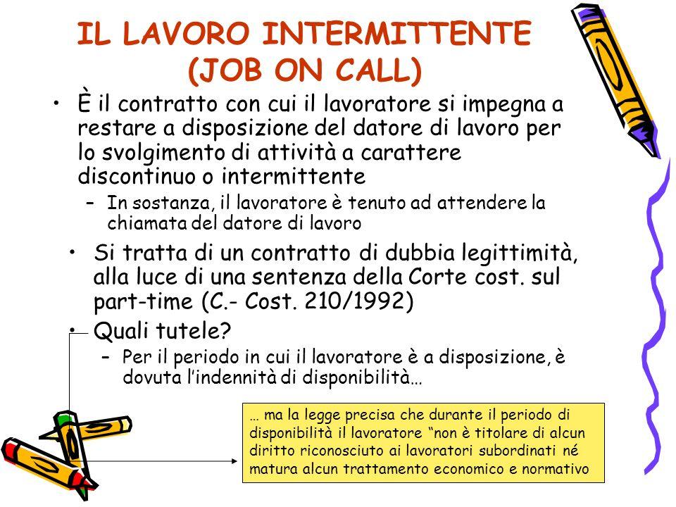 IL LAVORO INTERMITTENTE (JOB ON CALL)