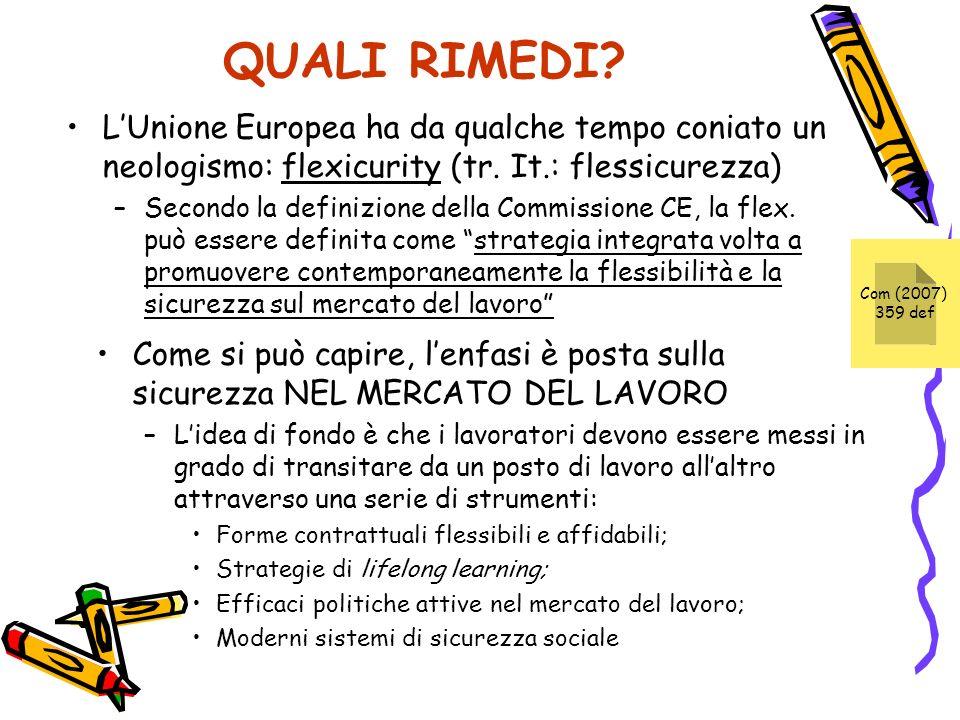 QUALI RIMEDI L'Unione Europea ha da qualche tempo coniato un neologismo: flexicurity (tr. It.: flessicurezza)