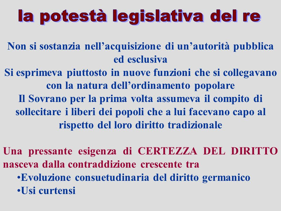 la potestà legislativa del re