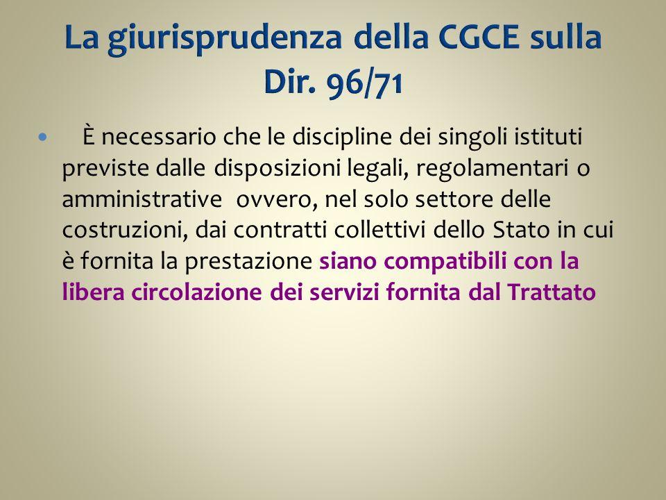 La giurisprudenza della CGCE sulla Dir. 96/71