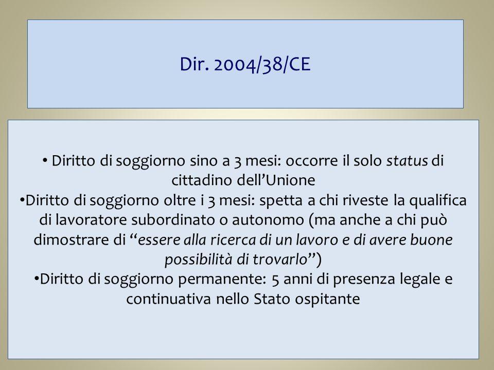 Dir. 2004/38/CE Diritto di soggiorno sino a 3 mesi: occorre il solo status di cittadino dell'Unione.