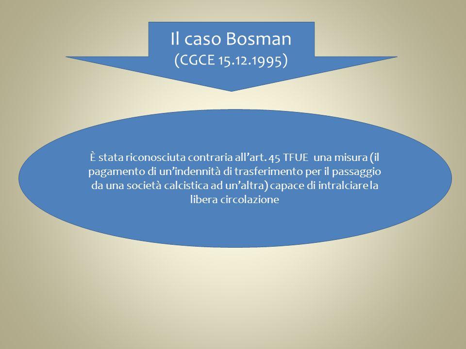Il caso Bosman (CGCE 15.12.1995)